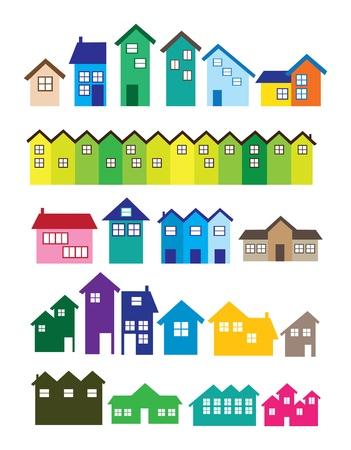 row of houses: Un conjunto de ilustraciones House finca real Vectores