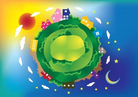 illustration d'une sc�ne mondiale avec des maisons et des b�timents, jour et nuit