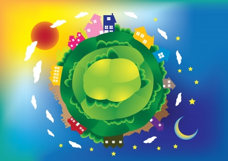 earth day:  illustration of a global scene with houses and building, day and night  Illustration