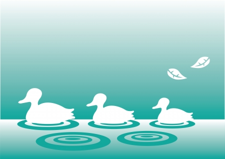 A family of silhouette ducks swimming in a straight line  Stock Vector - 14979056
