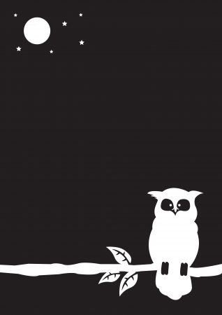 Black and white illustration of an owl with spaces for own text   Vector