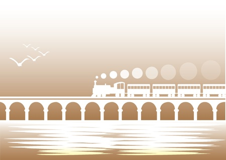 steam iron: Vector illustration of a Train travelling over a bridge