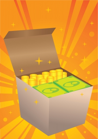 Vector illustration of a box of money  Stock Vector - 14979072