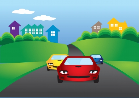 road line: Vector illustration of cars racing on the road
