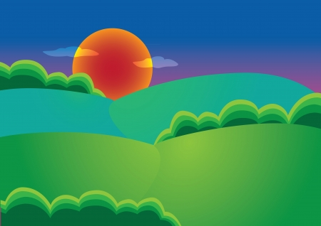 Vector illustration of a sunset in the countryside Vector