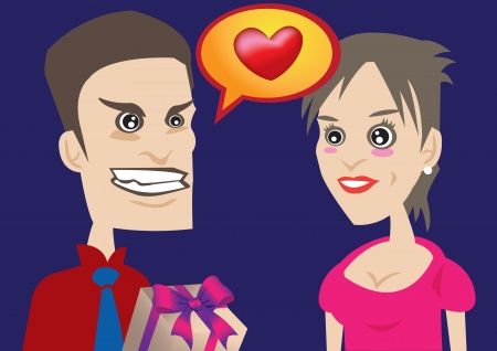 l boy: Vector illustration of a man expressing love to a woman he like   Ideal for Valentine