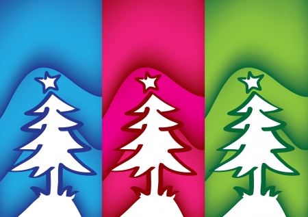 Three vector christmas trees with three different color background Stock Vector - 14979087