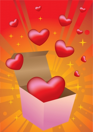 Open gift box with flying hearts  Valentines Vector