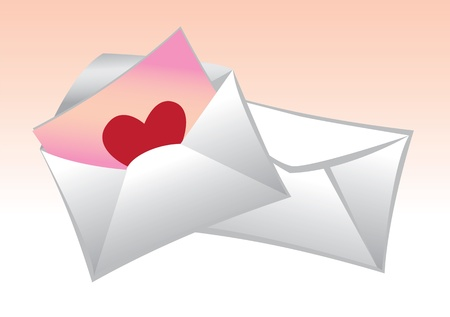 Illustration of a mail with paper with heart  Best for Valentine Vector