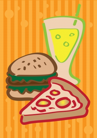 A set of vector illustrated fast food  Vector