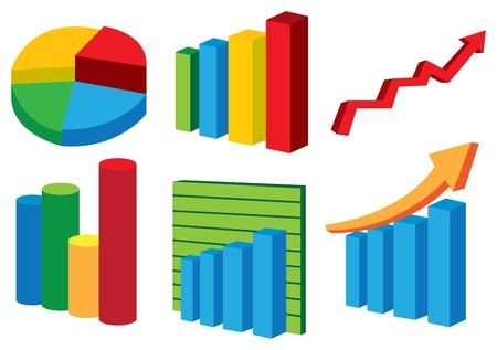 Biblioteka wykresów wektor i wykresów kołowych na białym tle Ilustracje wektorowe