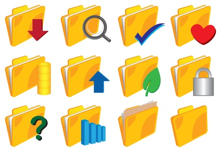 Vector illustration of a set of Folder with icons Stock Vector - 14979104