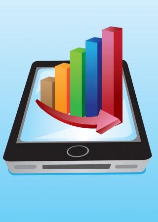 grafico vendite: Illustrazione handphone con grafici vettoriali