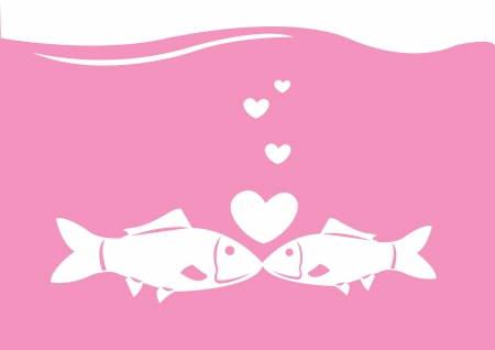sillhouette: Vector fishes kissing under water with hearts bubbles  Illustration