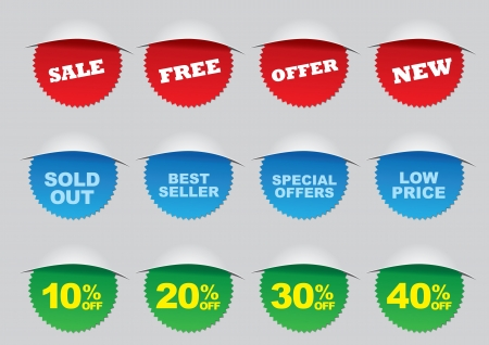 Illustration of a set of Vector promotion retail labels Stock Vector - 14979134
