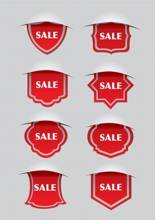 Vector illustration of red sale labels with different shapes  Vector