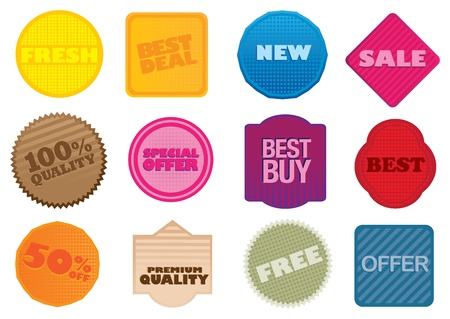 A set of vector labels with business selling messages  Vector