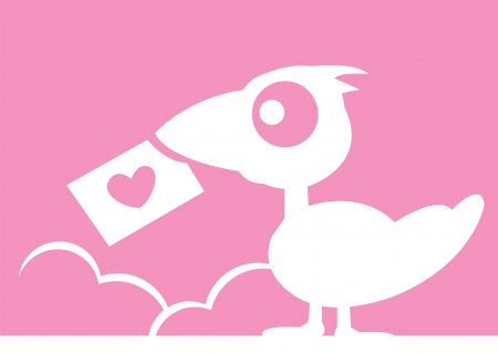 Vector bird with a card print with heart  To express love  Vector