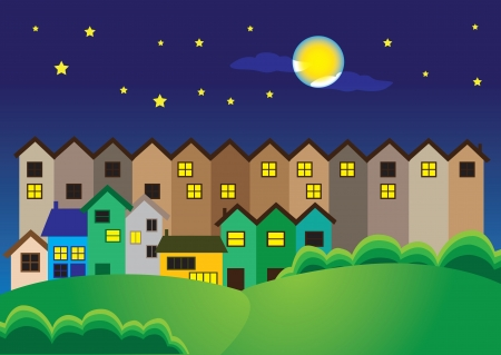 Vector illustration of a town at night