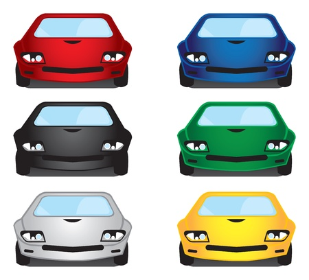 Vector illustration of six cars in their front view  Vector
