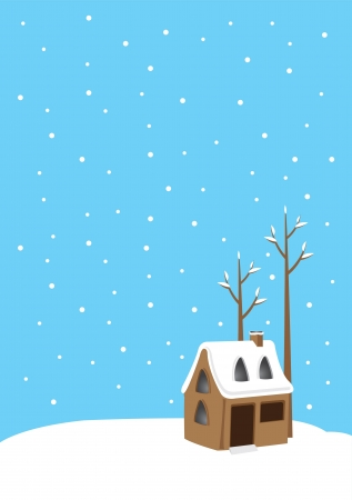 Vector illustration with winter landscape with snow house Vector