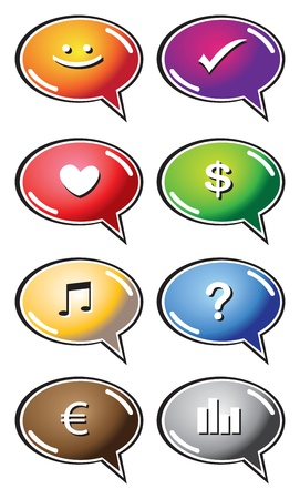 Vector speech bubbles with interesting icons  Vector