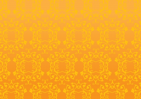 gold leafs: Golden Retro decorative pattern wallpaper background Illustration