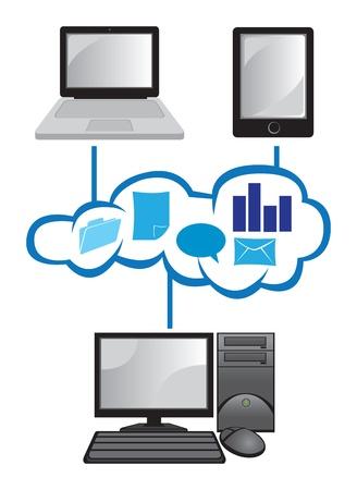 postazione lavoro: illustrazione del concetto di cloud computing