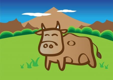 illustration of cow in the nature field Stock Vector - 15100156