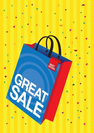 shopping bag with printed sale copy with confetti  Vector