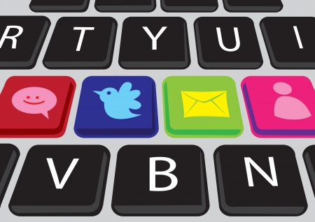 buttons on a keyboard with Social media icons Vector