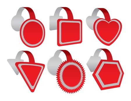 different shapes: Un insieme di sei wobblers pubblicitari con forme diverse