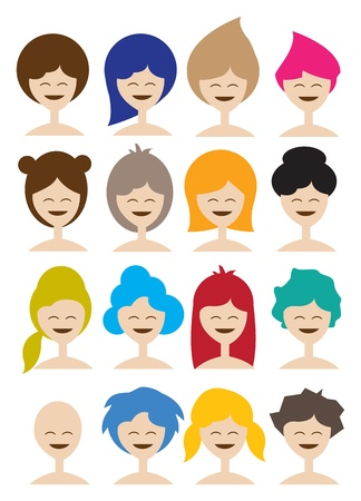 collection of a woman in different hairstyle  Stock Vector - 15100113