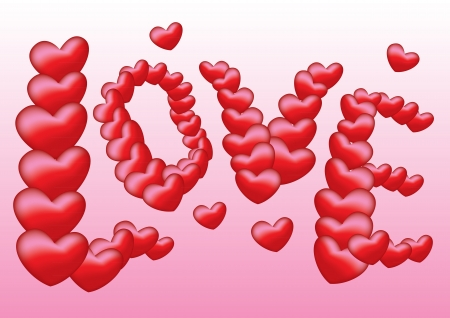 Love text make up of hearts Illustration