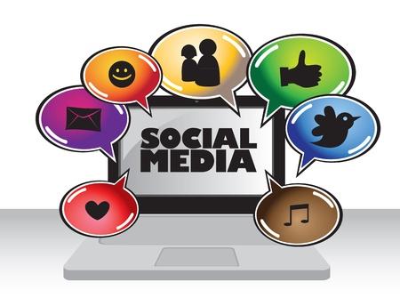Illustration of social media communication using a laytop