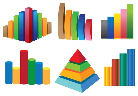 3D colorful stock chart collection Çizim