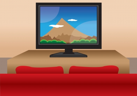 Big TV screen with a red sofa in the living room Stock Vector - 15100153