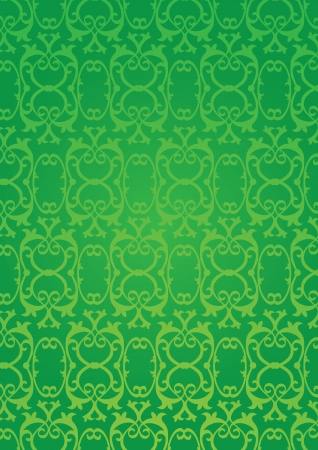 Green Retro decorative pattern wallpaper background Vector