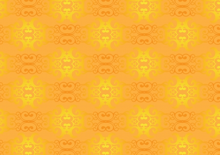Golden brown Retro decorative pattern wallpaper background Vector