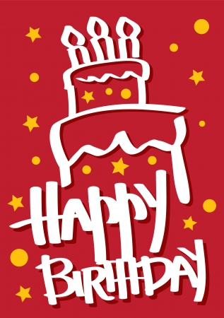 A red colored Birthday Card with a cake  Vector