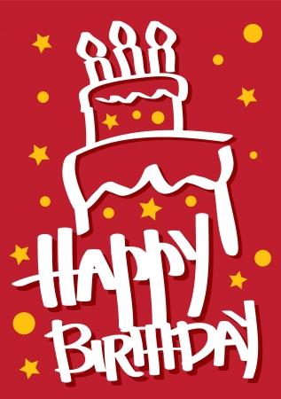Une carte d'anniversaire de couleur rouge avec un g�teau Illustration