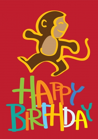 illustration of a birthday card with a cute monkey Stock Vector - 15327206