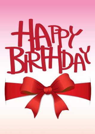Happy Birthday Card with  red ribbon bow  Çizim