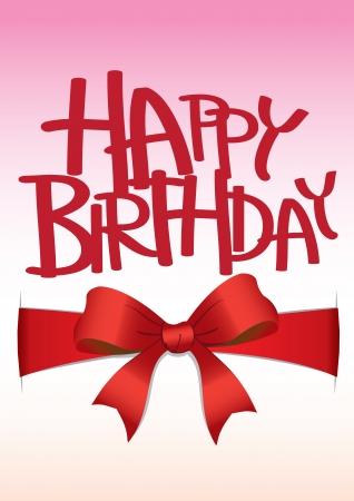 Tarjeta del feliz cumpleaños con arco de la cinta roja Foto de archivo - 15327170
