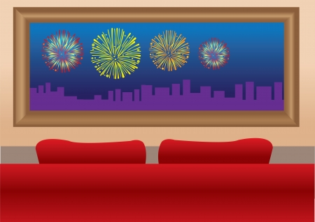 View of a fireworks display from the window of a home with a red sofa Stock Vector - 15327328