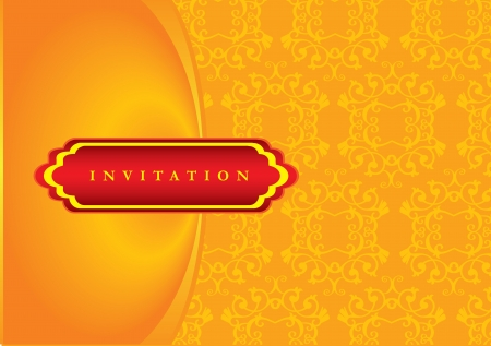 illustration of a vintage looking invitation card  Vector
