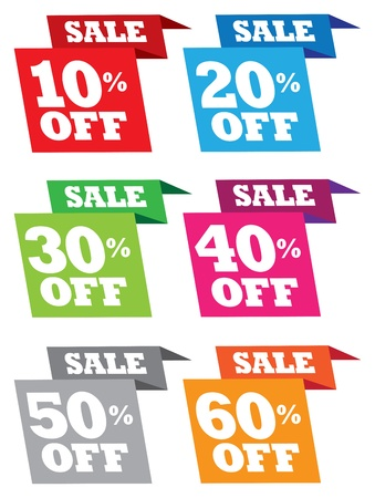 half price: Discount paper folding sale labels  illustration