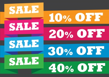 Discount paper folding sale labels  illustration  Stock Vector - 15327176