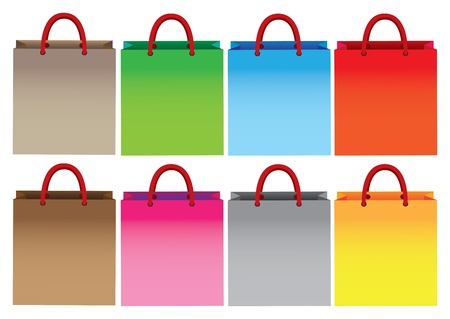 brown paper bag: Front view of colorful shopping bags Illustration