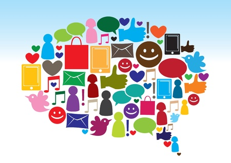 Illustration of social media communication using icons  style